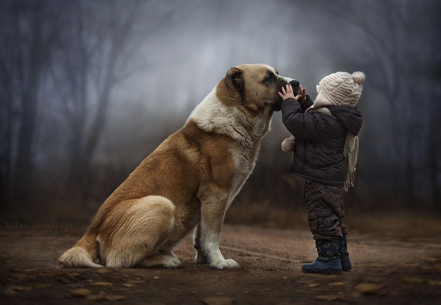 mother takes magical pictures of her two kids with animals