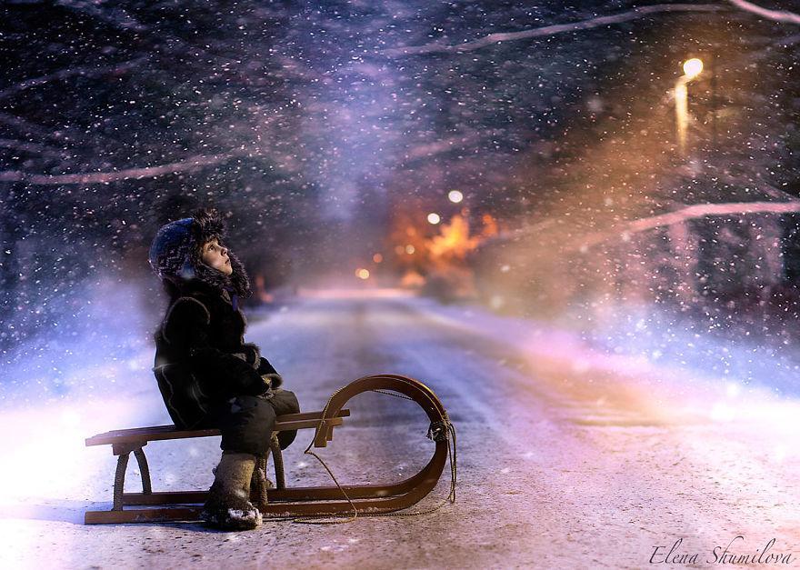 cool-animal-children-photography-Elena-Shumilova-sleigh