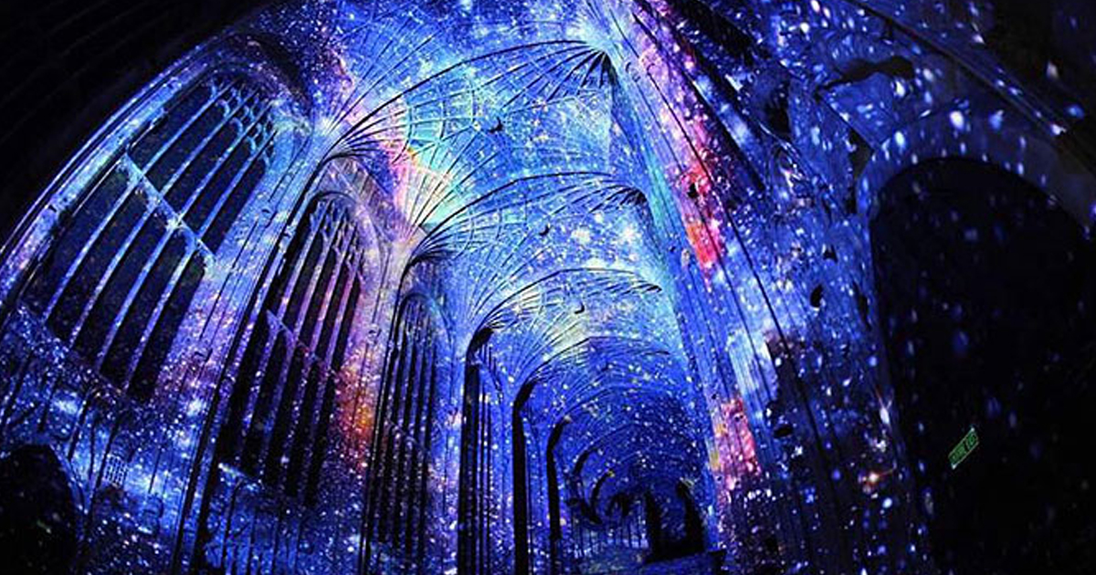 ThCentury Gothic Chapel Turned Into Starry Night Sky - Projection mapping turns chapel into stunning work of contemporary art