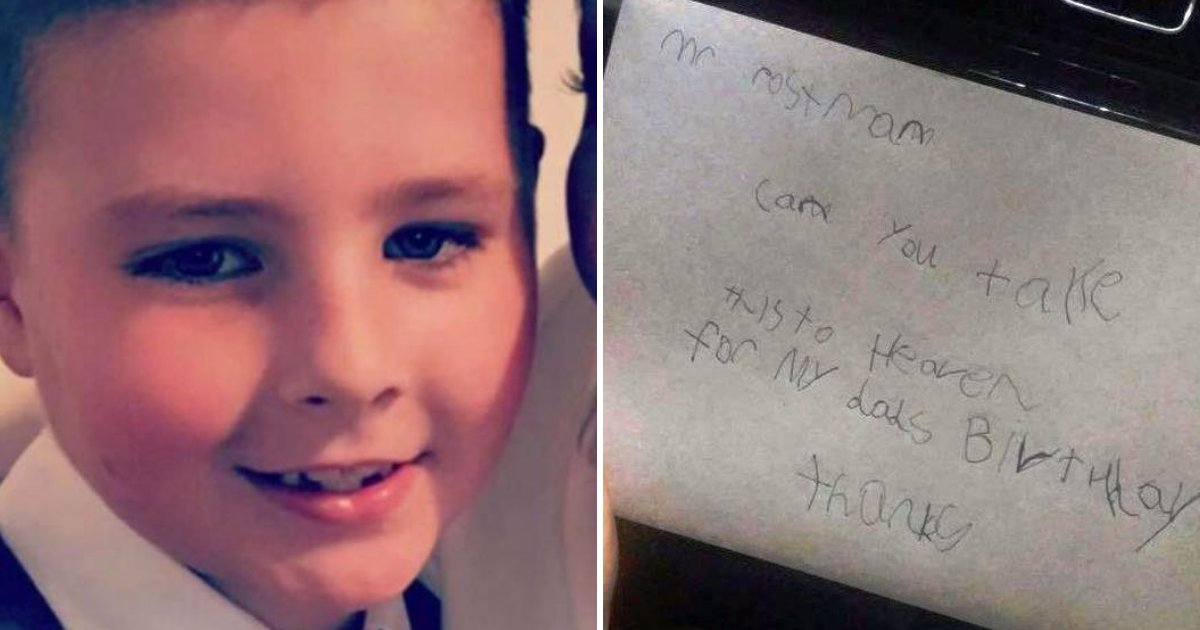 7 Year Old Boy Sends Birthday Card To Dad In Heaven Postmans Reply Has Thousands Tears